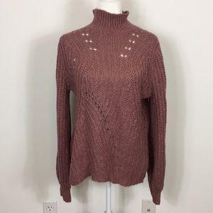 Lucky Brand Mock Neck Mauve Sweater